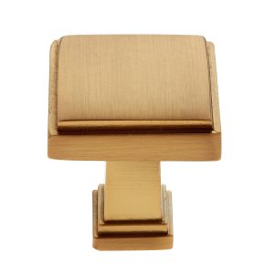 Marquee Square Knob in Satin Brass