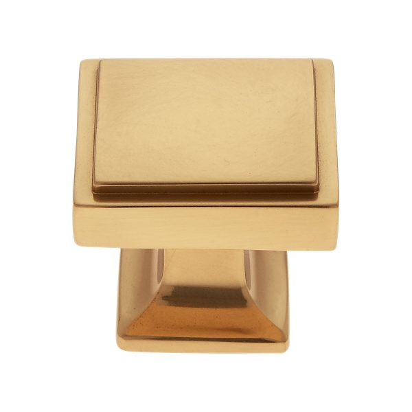 30 mm Square Knob in Satin Brass