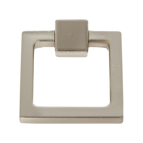 Square Ring Pull in Satin Nickel