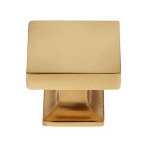 30 mm Flat Square Knob in Satin Brass